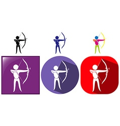 Sport icon for archery in three designs vector image