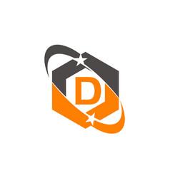 Star swoosh letter d vector