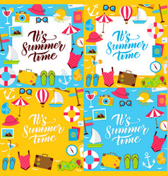 summer lettering posters vector image