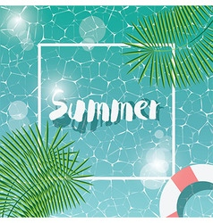 Swimming pool top view typographic hello summer vector