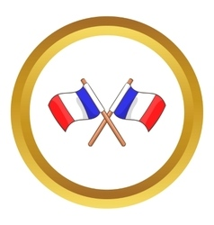 Two crossed flags of france icon vector