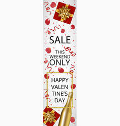 valentines day sale web banner vector image