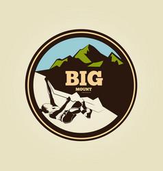 vintage mountain climbing round logo - sport vector image vector image