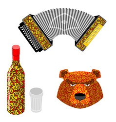 Russian symbol icon set bear vodka and accordion vector