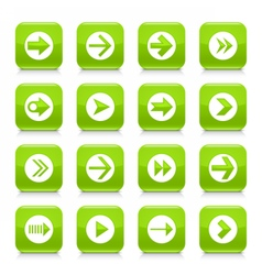 Green arrow sign rounded square icon web button vector