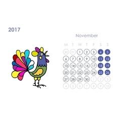 Rooster calendar 2017 for your design november vector