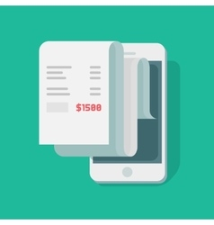 Paper receipt payment on mobile phone financial vector