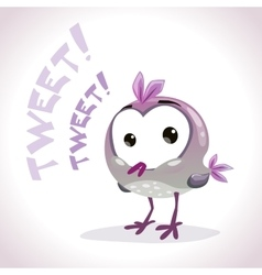 Little comic tweetting bird vector