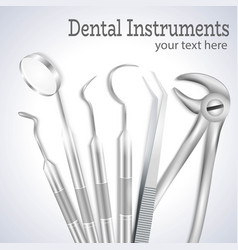 Realistic dentist tools vector