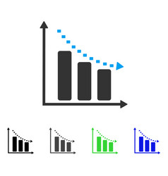Dotted negative trend flat icon vector