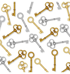 Pattern of old keys gold and silver on white backg vector