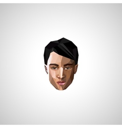 With an asian guy face in polygonal style vector