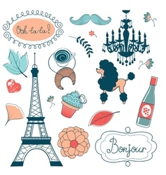 Elegant set with eiffel tower flowers birds vector