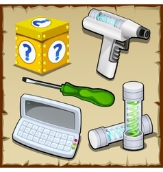 Toolbox box calculator test tube inventor vector