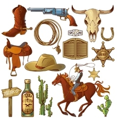 Wild west elements set vector
