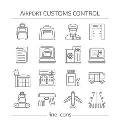 Airport customs control linear icons vector