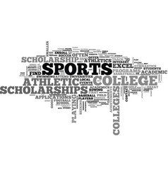 Athletic scholarships text word cloud concept vector