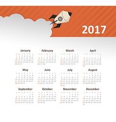 Calendar 2017 year with rocket week starts sunday vector