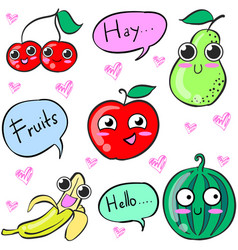 doodle of fruit character style vector image
