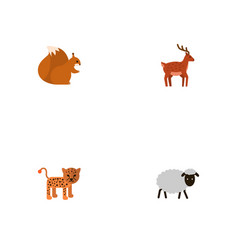 Flat icons panther moose chipmunk and other vector