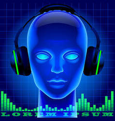 futuristic artificial head in blue light with vector image vector image
