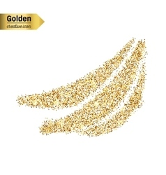 Gold glitter icon of banana isolated on vector