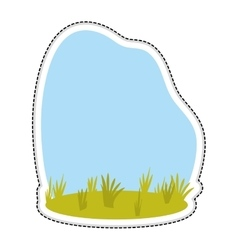 Grass and sky landscape icon image vector