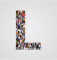 large group of people in letter l form vector image vector image
