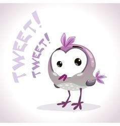 Little comic tweetting bird vector image