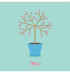 Love tree in the pot Heart flower Word love Blue vector image