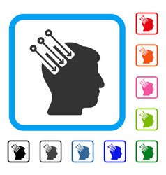 neuro interface framed icon vector image vector image