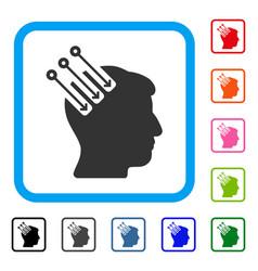 Neuro interface framed icon vector