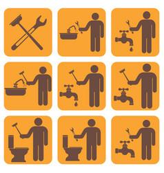 Plumbing work symbol icons set vector