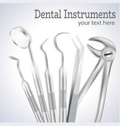 Realistic dentist tools vector