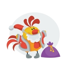 Rooster bird in santa s cloth with bag presents vector