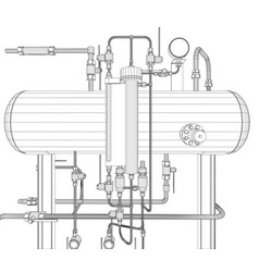 Scetch of heat exchanger on white vector