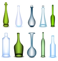 Set colorful bottle in different form vector image
