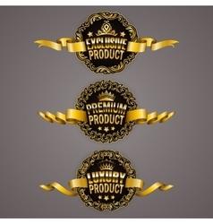 Set of luxury gold badges vector