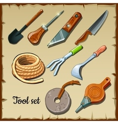 Set of tools gardeners on parchment paper vector