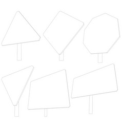 Set of wire-frame road signs vector