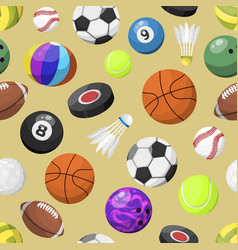 Sport balls seamless pattern background vector