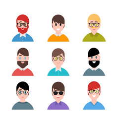 stylized handsome young boys and men avatars in vector image