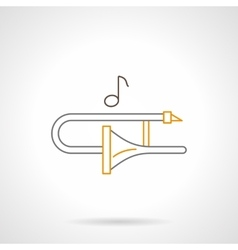 Trombone melody flat line icon vector