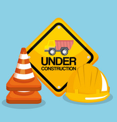 under construction road sign helmet and traffic vector image
