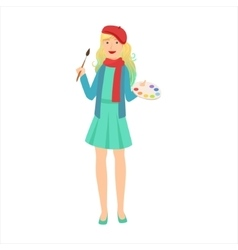 Woman artist painter with paintbrush and palette vector