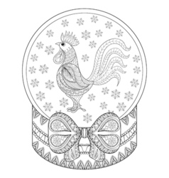 zentangle Christmas snow globe with rooster vector image vector image