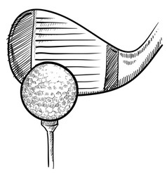 doodle golf ball club vector image