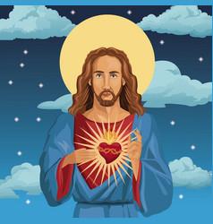 Jesus christ sacred heart catholic night vector