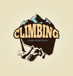 Vintage mountan climbling logo with person vector