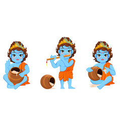 Happy janmashtami celebrating birth of krishna vector